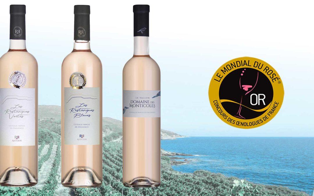 Les vignerons de la Sainte Baume récupèrent 3 Médailles d'Or au Mondial du Rosé